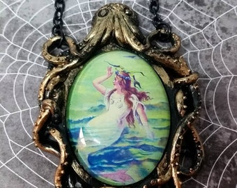 Super cool Octopus necklace with vintage Mermaid pic 40x30