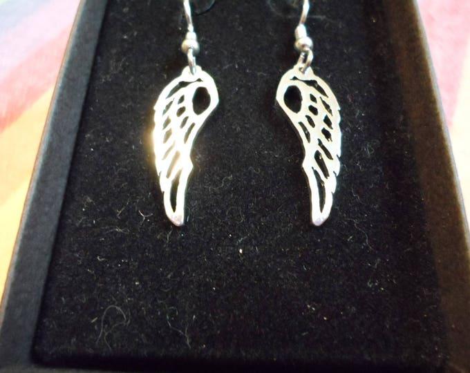 Angel wing earrings quarter size