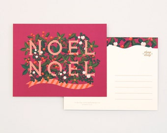 8 Holiday Postcards Set - Noel Raspberry