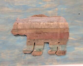 Bear Cut Out Barn Board Sign, Wooden Sign, Bear Sign, Wooden Bear Sign, Reclaimed, Barn Wood
