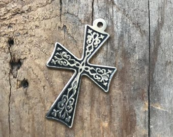 Silver Cross Pendant Decorative Religious Jewelry Devotional Gifts Spiritual Gifts Under 20 Unisex