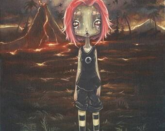Alien LIZARD girl dinosaur fantasy lowbrow art print- On Planet Lemuria