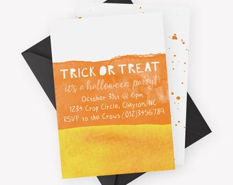 Watercolor Candy Corn Invitation   Halloween Invitation, Halloween Party Invitation, Typography, Halloween Party, Trick or Treat