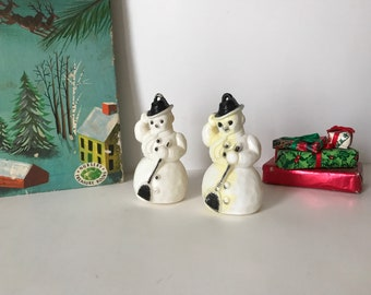 Pair of Vintage Plastic Snowman Ornaments * White Plastic Snowman *  Vintage Christmas Ornament * Snowman with Broom
