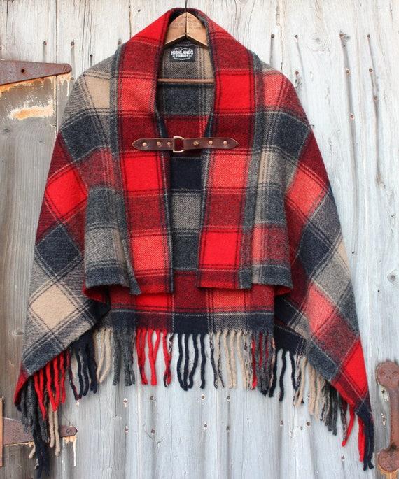 Plaid Blanket Poncho