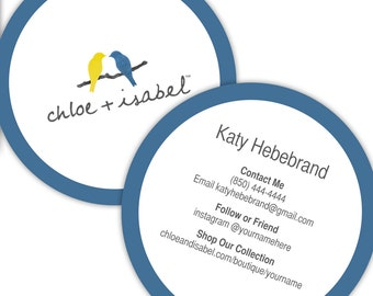Chloe isabel etsy chloeisabel round business cards personalized for your jewelry boutique colourmoves