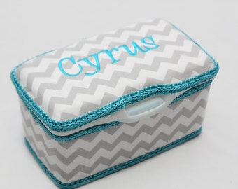 Personalized Wipes Case Tub - Grey Chevron with Turquoise
