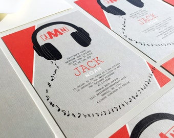 Headphones Bar Mitzvah Invitation, Musical Bat Mitzvah Invitations, Grey Red, Black, Music Lover, DJ Invites, Musician Invitation, Monogram