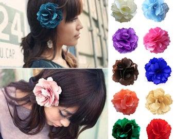 5x Satin Rose Flower Girl Hair Clips Brooches