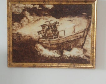 Wood burning art, pyrography, boat painting, gift for him, natural gift, handmade wood art, pyrography art, painting on wood, original art