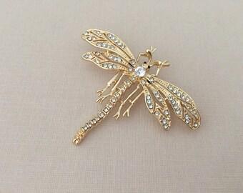 Gold Dragonfly Brooch.Dragonfly Brooch.Gold Dragonfly Pin.Crystal.Wedding.Bridal Brooch.Bride.Gold Dragonfly Broach.Clear.White.Rhinestone.