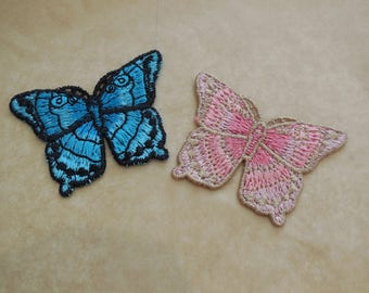 Blues or pinks butterfly lace applique / cotton butterfly lace motif is for sale . Sold by per piece