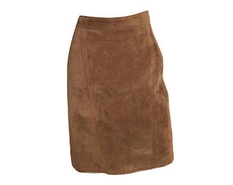 Vintage Brown Suede Pencil Skirt, Leather Pencil Skirt, Suede Knee Length Skirt, Suede Skirt, Leather Skirt