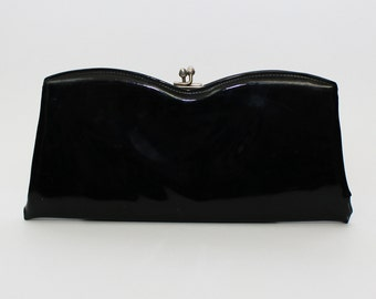60s Black Patent Leather Clutch - Vintage Evening Bag - 1960s Black Handbag