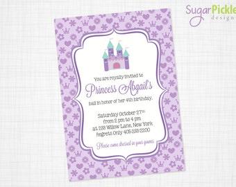 Purple Princess Birthday Invitation // Princess Invitation // Princess Party Invite // Princess Birthday Invite, PRINTABLE