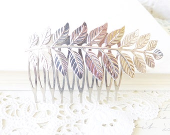 Silver Leaf Branch Hair  Comb - Woodland Collection - Whimsical - Nature - Bridal