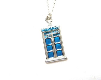 Tardis Necklace, Doctor Who Necklace, Police Box Jewelry, Great Whovian Gift, Tardis Jewelry, Doctor Who Jewelry, Gifts under 20
