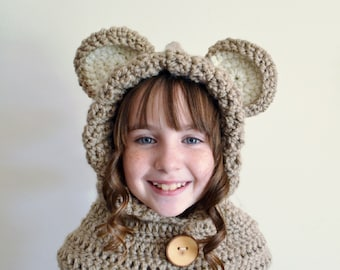 Light Brown Bear Hat - Light Brown Bear Hoodie - Light Brown Bear Cowl - Animal Hat - Hooded Scarf - Crochet Hoodie - Chunky Crochet Hat