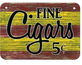 Metal Sign FINE CIGARS tobacco smoker cigar shop smoking man cave wall art plaque