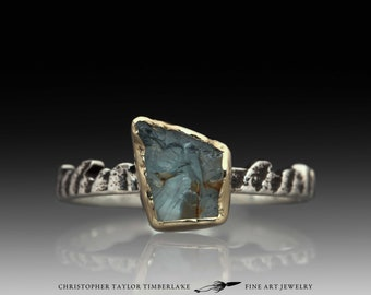 Cuttlefish Cast Sterling Silver and 14K Yellow Gold Bezel Set Raw Aquamarine Stacking Ring III