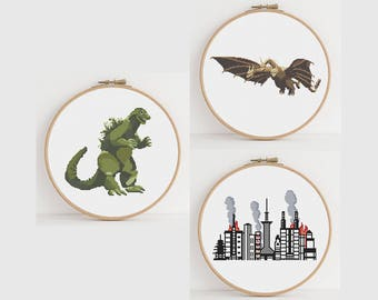 Godzilla versus King Ghidorah over Tokyo Counted Cross Stitch Pattern: Digital Download