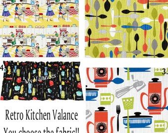 Retro Kitchen curtain Valance You choose the fabric! Add a bit of whimsy to your kitchen with these vintage look valances.