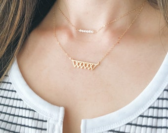Gold Banner Necklace - Gold Necklace, Dainty Necklace,Delicate Jewelry,Modern Necklace,Gift 20 and Under,Layering Necklace, Stocking Stuffer