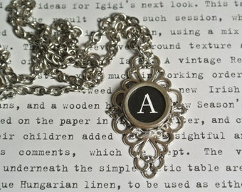 Typewriter Letter Necklace, Filigree Setting, Personalized Initial, Authentic Typewriter Keys A-Z available, Silver Chain By UPcycled Works