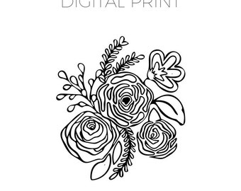 Floral Coloring Page | Hand Drawn | Digital Print