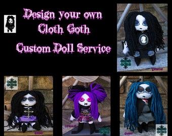 Gothic Horror Voodoo Inspired Custom Handmade Cloth Doll, Goth OOAK Doll