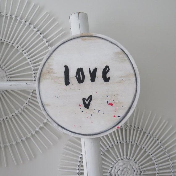 Black and White, LOVE, 30cm Round Wall Art, White black Boho Design,  Timber Porthole