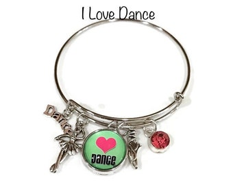 Love Dance Bangle Bracelet - Coordinates with Studio66 LLC Snaps - Gingersnaps - Ginger Snaps - Magnolia and Vine Snaps - Customize