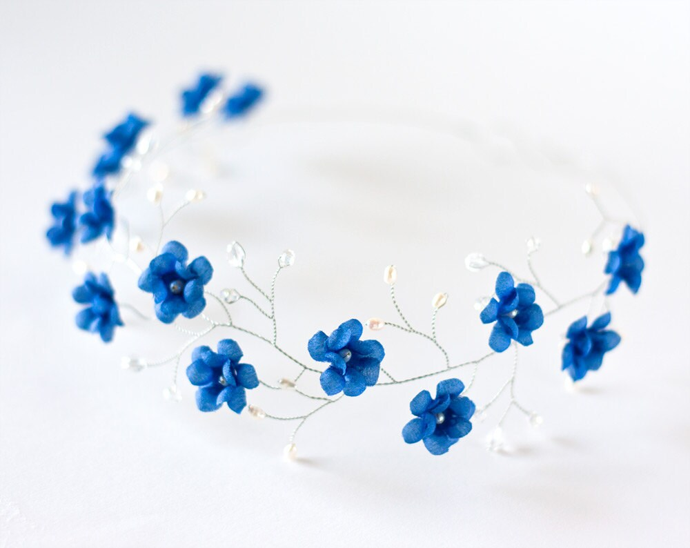 51 tiara blue wedding hair accessory floral tiara bridal zoom izmirmasajfo Image collections