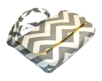 Small Gray Chevron Purse, Mini Messenger Bag, Chevron Pocketbook, Gray and Yellow Crossbody Bag - Gray Chevron Bag, Long Adjustable Strap