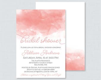 Pink Watercolor Bridal Shower Invitation Printable or Printed - Watercolor Bridal Shower Invites, Blush Pink and White Bridal Shower 0030-P