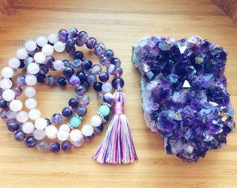 Amethyst Mala Beads, Spiritual Jewelry, Buddhist Prayer Beads, Mala Necklace, Rose Quartz, Sterling Silver  - Love, Healing Energy