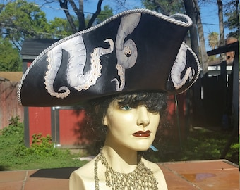 Black and silver octopus leather pirate hat