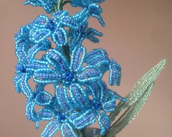 The blue hyacinth made of beads
