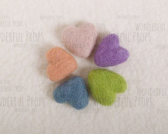 Mini Wool Felt Hearts - Photo Props for Newborn Photography - Set No.7