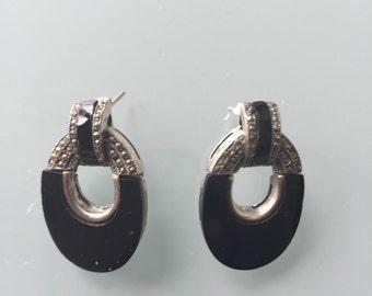Vintage Black Onyx & Sterling Silver Earrings