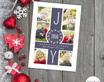 Photo Christmas Card, Christmas Photo Collage Card, Digital Christmas Card, Wreath Monogram Navy Blue JOY Christmas Year in Review PRINTABLE