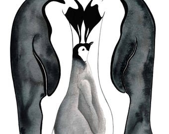 Emperor Penguin Adult and Chick - Sofie Seyah Illustration - Ink and Watercolour Black and White - Art Print - Nursery Art