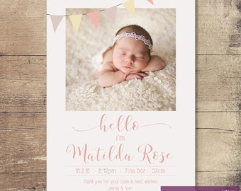 Printable Baby Bunting Birth Announcement / Customisable Digital File / JPG or PDF / Pink, yellow