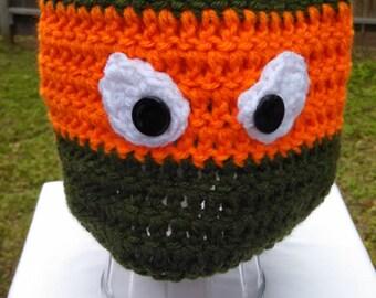 Orange Ninja Turtle Crochet Hat