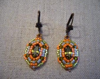Earrings Art Deco Orange and olive