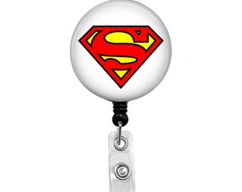 Superman with White Background - Badge Reel Retractable ID Badge Holder