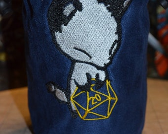 Dice Bag D20 Arctic Fox Embroidered suede