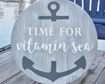 Vitamin Sea sign, coastal decor, housewarming gift, painted wood sign, round sign, beach sign, beach decor, anchor sign