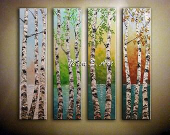 Contemporary Art Aspen Tree Painting Four Seasons Art Original Landscape Painting Lake Birch Tree Painting Huge Wall Decoration by Nata S.