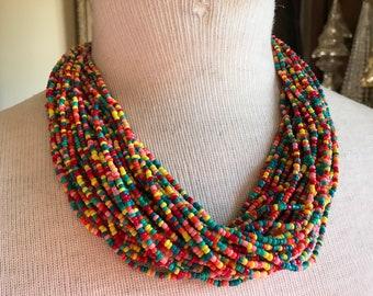 Vintage Beautiful Designer Talbots Colorful Multi Strand Torsade Collar Bib Choker Style Necklace